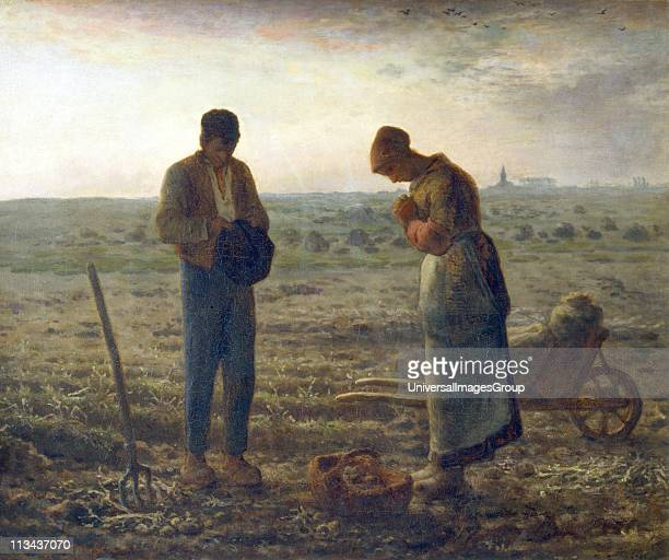 The Angelus' At the sound of the Angelus bell from the church in the distance peasants pause in their work to say an evening prayer Jean Francois...
