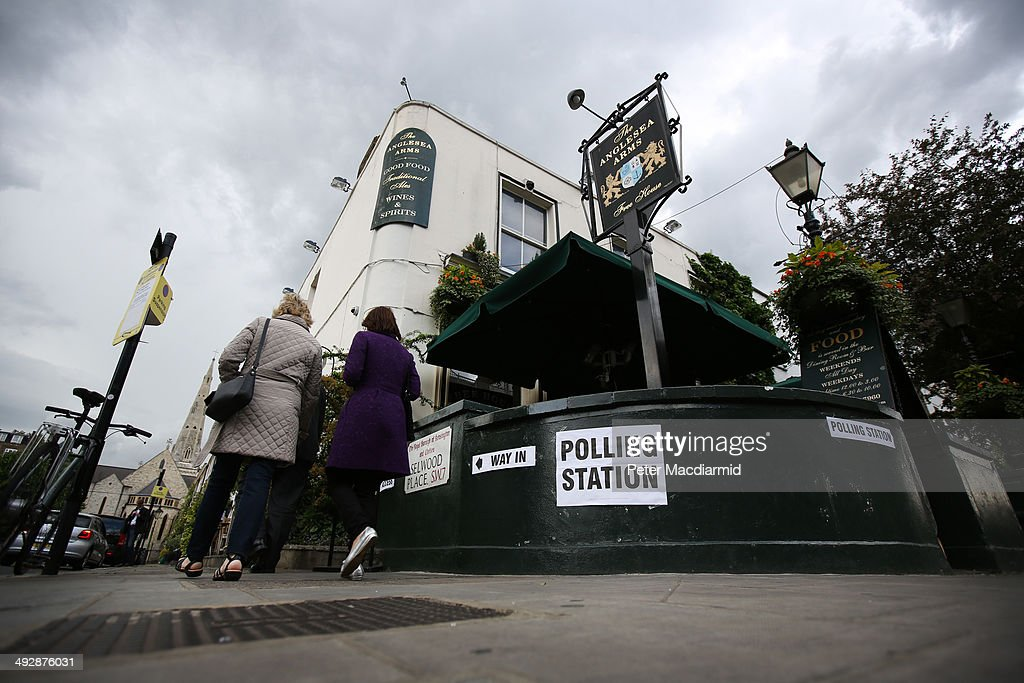 The Anglesea Pub opens it's doors as a polling station on May 22, 2014 in London, England. Millions of voters are going to the polls today in local and European elections.