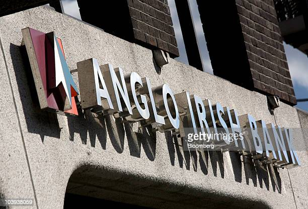 The Anglo Irish Bank Corp company logo sits on display at the headquarters on St Stephens Green in Dublin Ireland on Thursday Sept 9 2010 Irish...