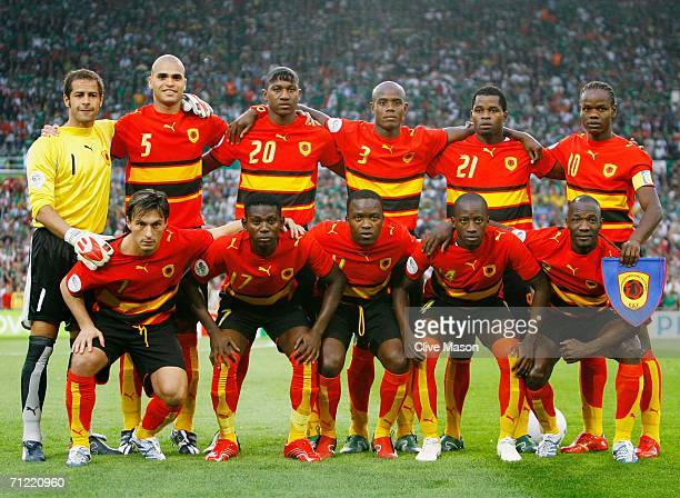 The Angola team line up for a group photograph prior to the FIFA World Cup Germany 2006 Group D match between Mexico and Angola played at the Stadium...