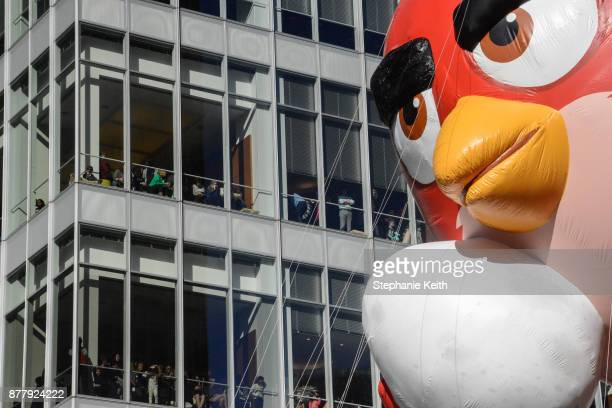 The Angry Birds balloon floats on Central Park West during the annual Macy's Thanksgiving Day parade on November 23 2017 in New York City The Macy's...