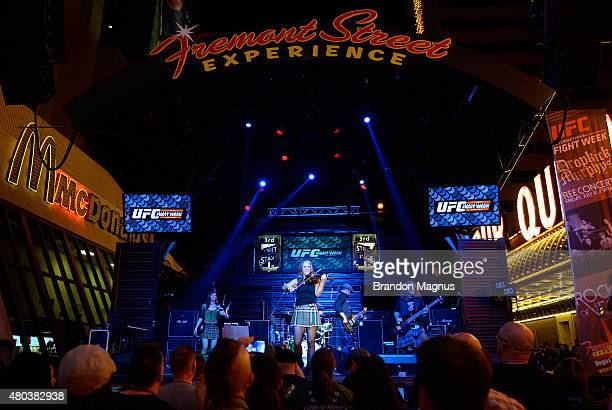 The Angry Brains perform during UFC International Fight Week Free Concert at the Fremont Street Experience on July 10 2015 in Las Vegas Nevada