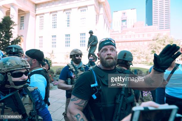 The Angry Viking, militia leader, speaks with the media and followers in front of the Hall of Justice in downtown Louisville on September 5, 2020 in...