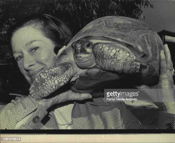 The animal dispatch clerk at Taronga Zoo Mrs Audrey Chislett wishes the male Radiated Tortoise a pleasant flightReptiles were flying in all...