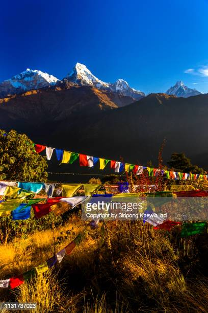 The Annapurna mountain peaks from Poon Hill viewpoint, Nepal.