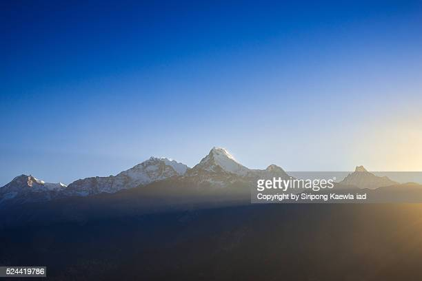 The Annapurna mountain range in the morning from Poon Hill viewpoint