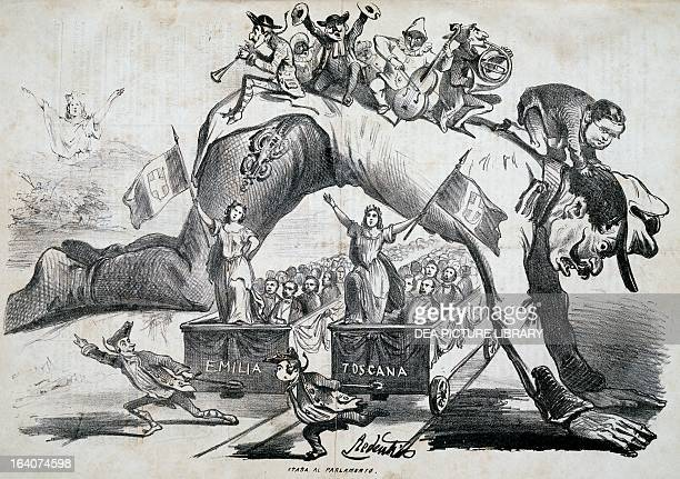 The annexation of Emilia and Tuscany to the Kingdom of Italy cartoon by Redenti published in Il Fischietto magazine Turin April 3 1860 Italy 19th...
