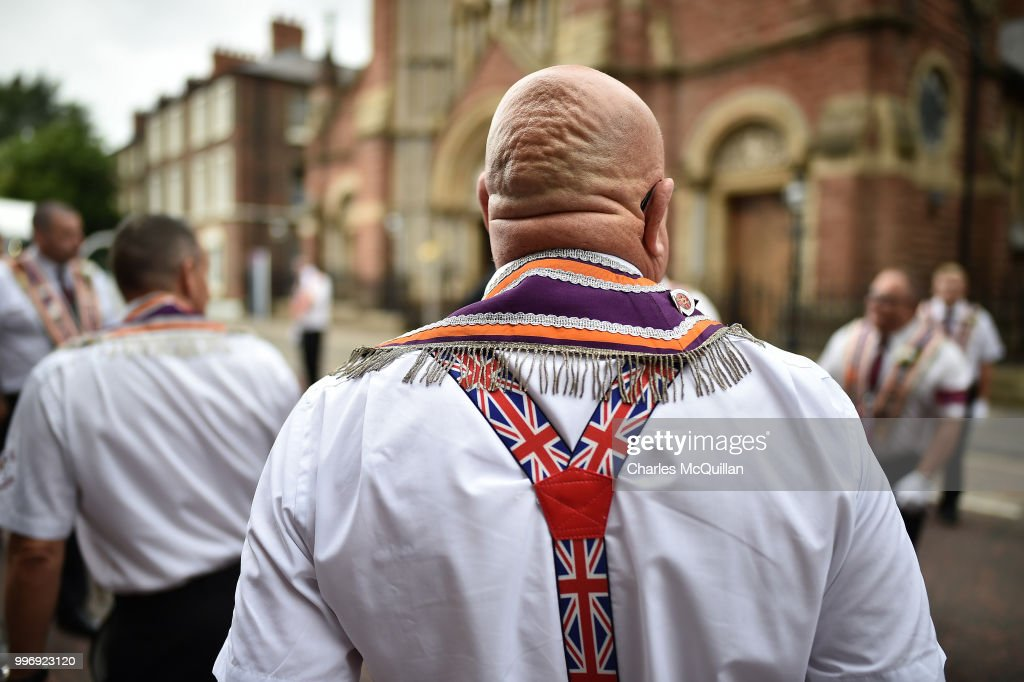 The annual 12th of July Orange march and demonstration taking place on July 12, 2018 in Belfast, Northern Ireland. The marches across the province celebrate King William of Orange's victory over the Catholic King James at the Battle of the Boyne in 1690.