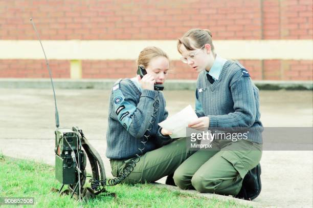 The annual Cadet Challenge Territorial Army Centre Coulby Newham 23rd January 1994 Members of the Girls Venture Coprs send a message to their team...