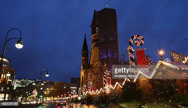 The annual Christmas market by the Kaiser Wilhelm Memorial Church at Breitscheid square is pictured on November 23 2009 in Berlin Germany Christmas...