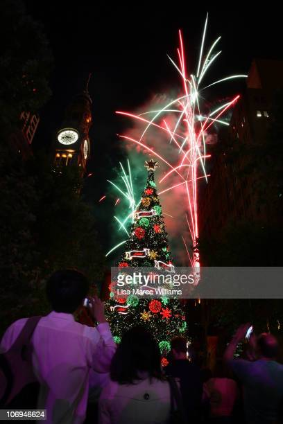 The annual Christmas tree lighting display at Martin Place on November 18 2010 in Sydney Australia Thousands of Sydneysiders gathered in the CBD to...