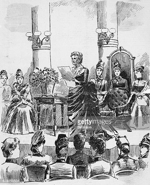 The Annual Convention of the New York State Woman's Suffrage Association at Masonic Temple New York Mrs Lillie Devereux Blake president opening the...