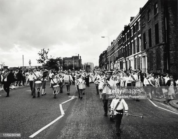 The annual Orange Order march in Liverpool, circa July 1982. The parades typically build up to 12 July celebrations marking Prince William of...