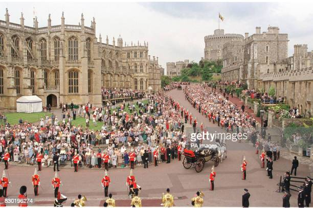 The annual Order of the Garter ceremony procession in Windsor prior to the service attended by the Queen and the Duke of Edinburgh at St George's...