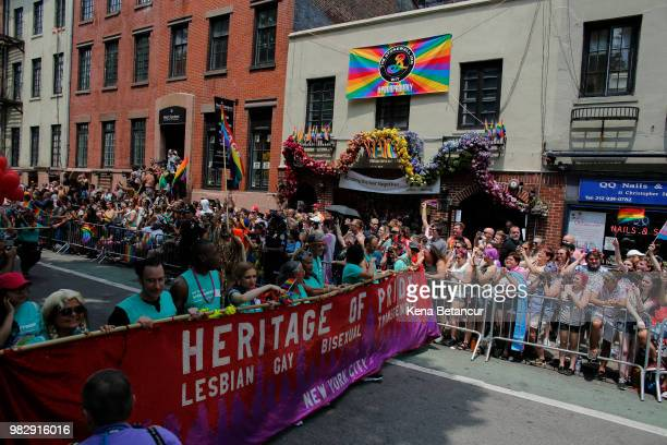 The annual Pride Parade makes its way past the The Stonewall Inn on June 24 2018 in New York City The Greenwich Village tavern was the site of the...