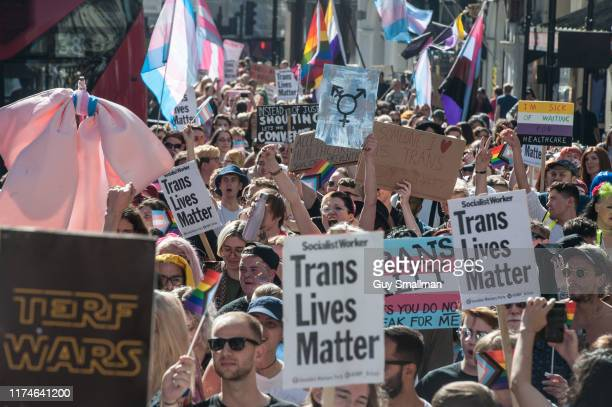 The annual Trans Pride parade makes its way from Wellington Arch next to Hyde Park down to Soho square on September 14 2019 in London England
