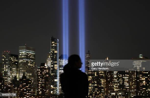 The annual Tribute in Light appears over lower Manhattan in New York City on September 11 2017 as seen from Jersey City New Jersey