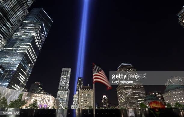 The annual Tribute in Light appears over the National September 11 Memorial in lower Manhattan in New York City on September 11 2017