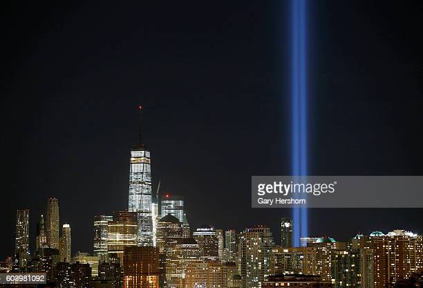 The annual Tribute in Light is illuminated on the New York City skyline marking the 15th anniversay of the 9/11 attacks on the World Trade Center on...
