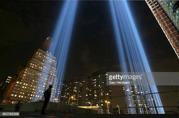 The annual Tribute in Light is tested in advance of the 15th anniversay of the 9/11 attacks on the World Trade Center on September 9 2016 in New York...