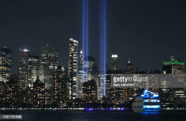 The annual Tribute in Light marking the 17th anniversary of the attack on the World Trade Center is tested in New York City on September 5 2018 as...