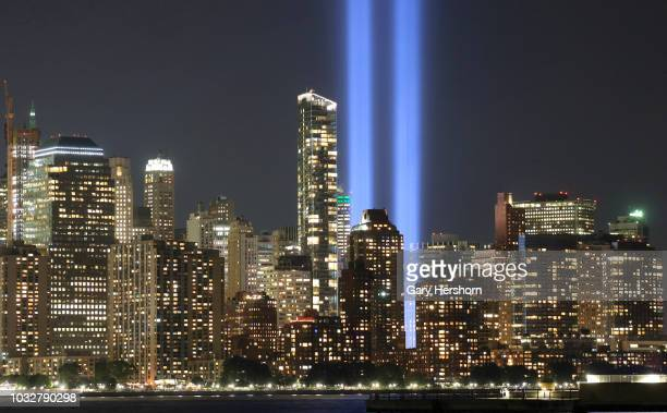 The annual Tribute in Light marking the 17th anniversary of the attack on the World Trade Center is tested in New York City on September 6 2018 as...