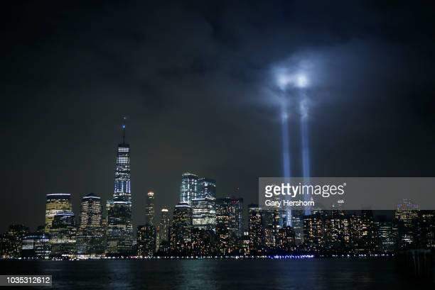 The annual Tribute in Light marking the 17th anniversary of the attack on the World Trade Center is illuminated in lower Manhattan next to One World...