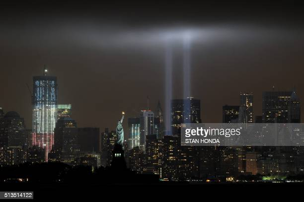 The annual Tribute in Light memorial echoing the twin towers of the World Trade Center illuminates the night sky during the 10th Anniversary of the...