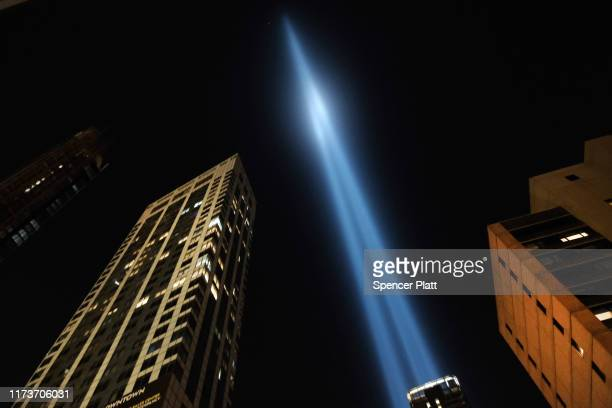 The annual Tribute in Light memorial in remembrance of victims who died in the September 11 terrorist attacks rises above the skyline on September 10...