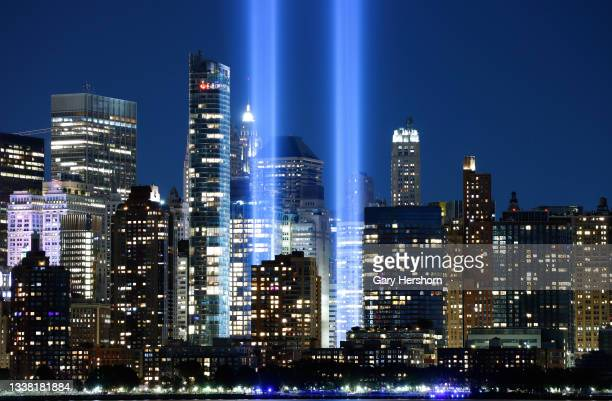 The annual Tribute in Light that will mark the 20th anniversary of the attacks on the World Trade Center is tested in New York City on September 3,...
