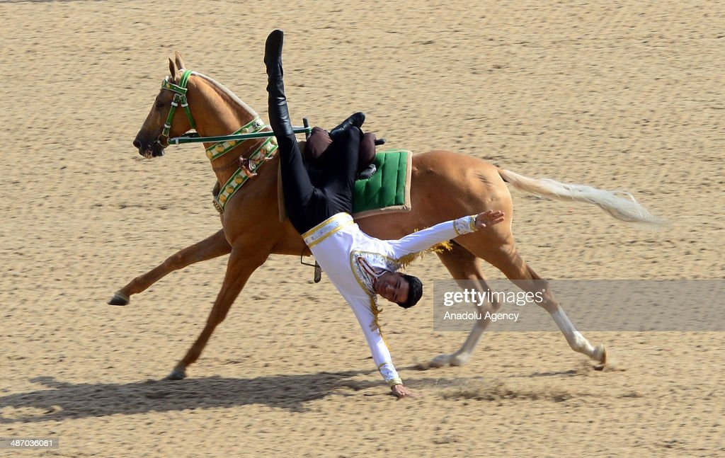 The annual Turkmen Racing Horse Festival is held in the Turkmen capital of Ashgabat on April 27, 2014. Turkish President Abdullah Gul (not seen) attended the festival with Turkmen President Gurbanguly Berdimuhamedov (not seen) and Tatar President Rustam Minnikhanov (not seen) in Ashgabat, Turkmenistan.