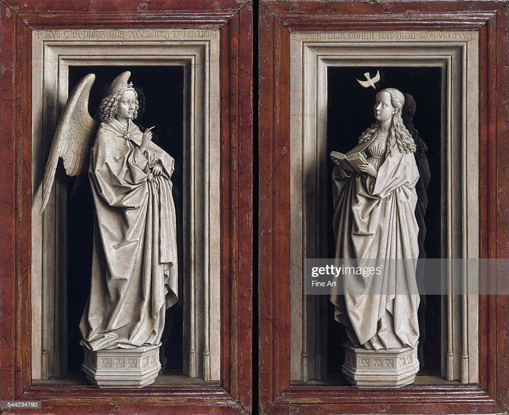 The Annuciation Diptych, circa 1433-5. Oil on panel. Left wing (Archangel Gabriel): 38.8 x 23.2 cm, right wing (Virgin Mary): 39 x 24 cm. Museo Thyssen-Bornemisza, Madrid, Spain.