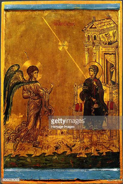 The Annunciation 12th century Found in the collection of Saint Catherine's Monastery Mount Sinai Egypt Artist Byzantine icon