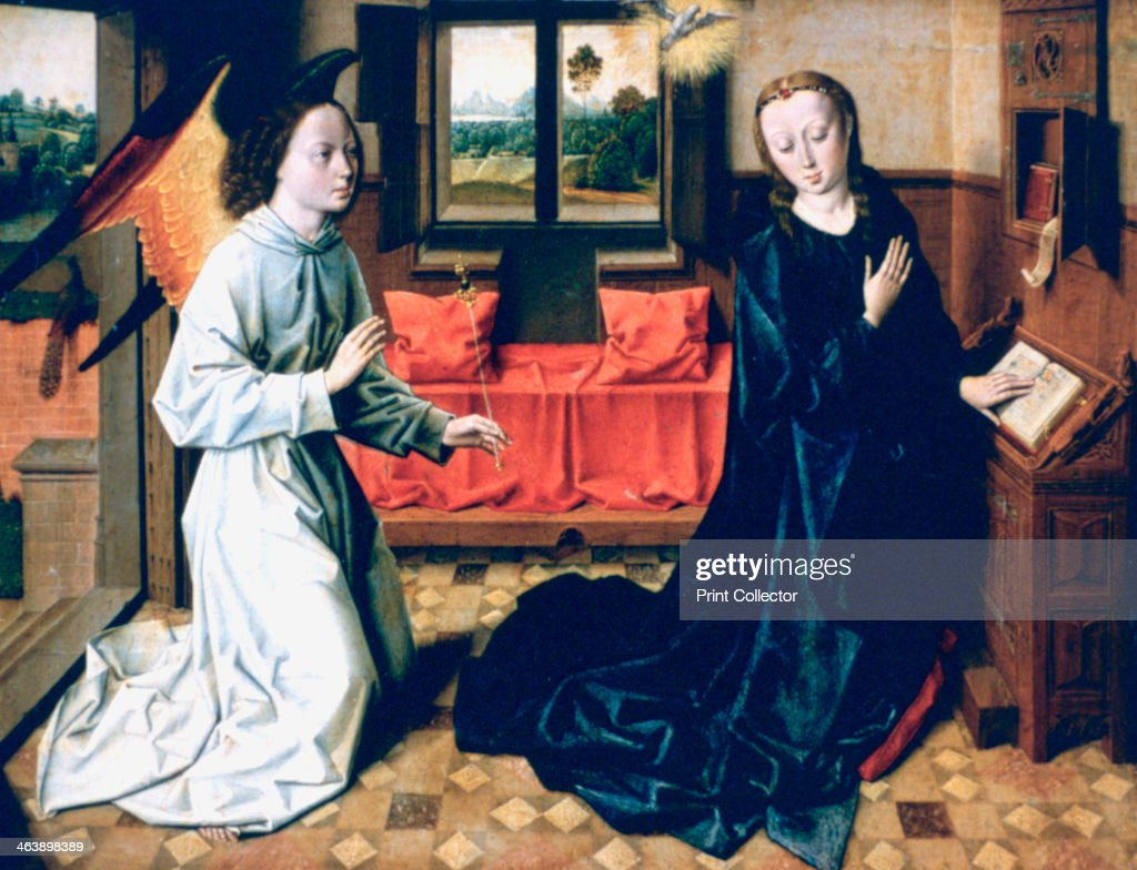 'The Annunciation', 1465-1470. Light heralds the Saviour, the dove signals the presence of the Holy Spirit, Museu Calouste Gulbenkian, Portugal.