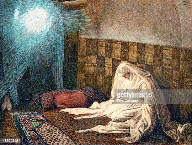 The Annunciation 1897 The Archangel Gabriel appearing to the Virgin Mary to tell her she will bear Jesus Illustration by JJ Tissot for his Life of...