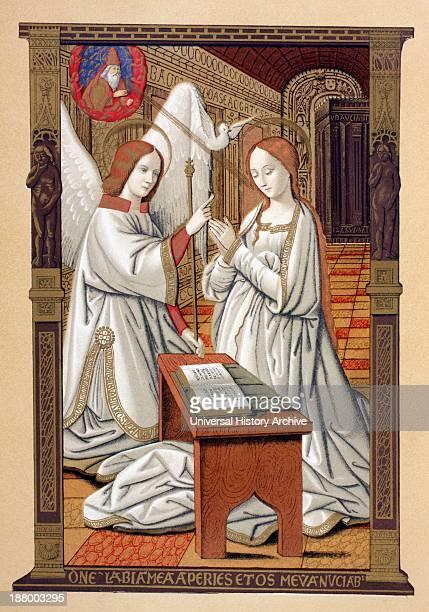 The Annunciation After A Miniature From The 16Th Century Les Petites Heures D'anne De Bretagne From Les Artes Au Moyen Age Published Paris 1873