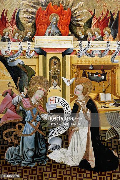 The Annunciation altarpiece from Verdu 143234 by Jaume Ferrer II known as The Younger oil on canvas 159x93 cm Vic Museu Episcopal