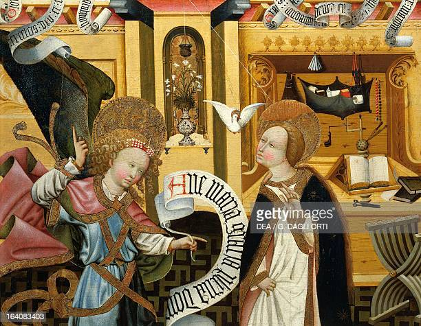 The Annunciation altarpiece from Verdu 143234 by Jaume Ferrer II known as The Younger oil on canvas 159x93 cm Detail Vic Museu Episcopal