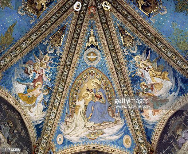The Annunciation and angels detail from the frescoes of the apsidal vault of the Basilica of Santa Casa Ancona Italy 15th16th century