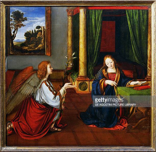 The Annunciation by Andrea Solari or Solario painting on wood Italy 16th century Paris Musée Du Louvre
