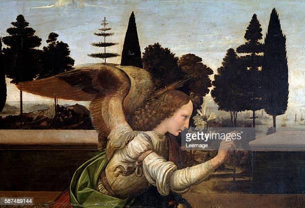 The annunciation Detail of the Archangel Gabriel Painting by Leonardo da Vinci oil on wood 14721475 Florence galleria degli Uffizi