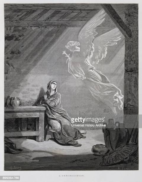 The Annunciation Illustration from the Dore Bible 1866 In 1866 the French artist and illustrator Gustave Doré published a series of 241 wood...