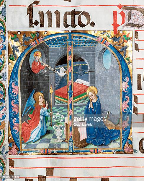 The Annunciation of the Virgin Mary medieval manuscript miniature on vellum Spanish 15th century From an antiphonary at the Soria Chapter House Soria...