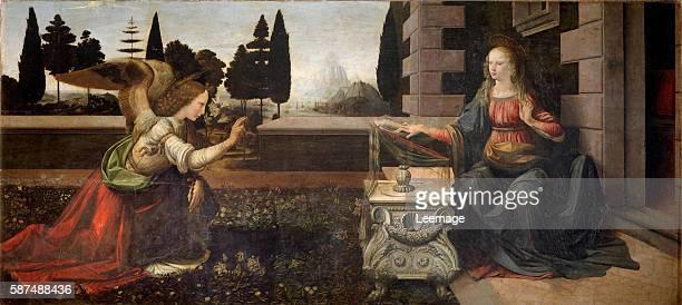 The annunciation Painting by Leonardo da Vinci oil on wood 14721475 Florence galleria degli Uffizi