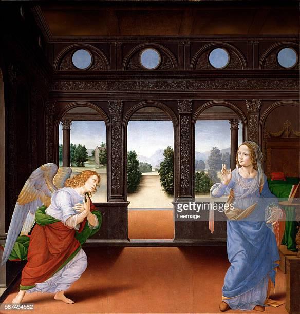The annunciation Painting by Lorenzo di Credi ca 1480 oil on canvas Dim 88 x 71 cm Florence Galleria degli Uffizi