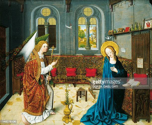 The Annunciation scene from the story of the life of Mary by the Master of the Stories of St Mary of Aachen oil on panel Aquisgrana Domschatzkammer