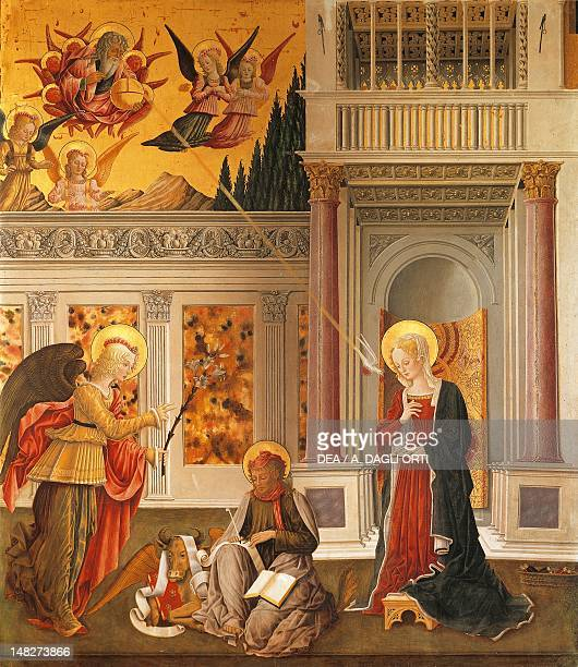 The annunciation to Mary and Saint Luke the Evangelist by Benedetto Bonfigli panel 227x200 cm Perugia Galleria Nazionale Dell'Umbria