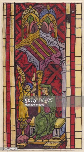 The Annunciation to St Anne section of stained glass window 1951 Detail of a window made 13501355 for the Wallfahrtskirche in Strassengel in Austria...