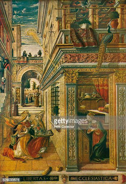 The Annunciation, with Saint Emidius, 1486. After an altarpiece by Carlo Crivelli . Original housed in the National Gallery, London. From A History...