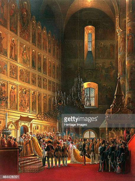 The anointing of Tsar Alexander II of Russia Moscow 1856 The coronation of Emperor Alexander II and Empress Maria Alexandrovna took place on 7...